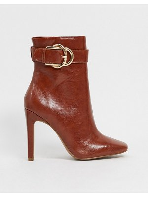 ASOS DESIGN envy high ankle buckle boots in tan