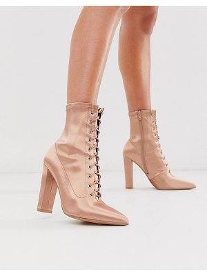 ASOS DESIGN equals lace up block heel boots in pink satin