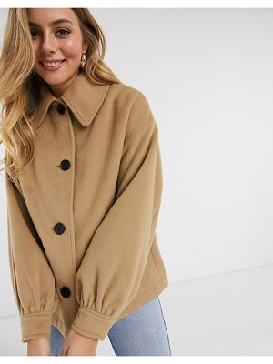 ASOS DESIGN extreme sleeve jacket in camel-beige