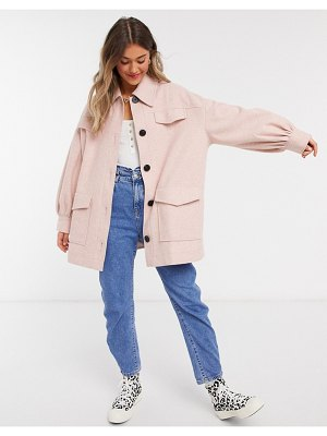ASOS DESIGN extreme sleeve shacket in pink