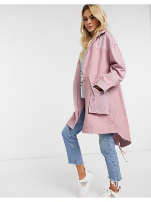 ASOS DESIGN fabric mix casual jacket in pink