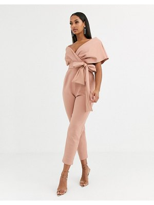 ASOS DESIGN fallen shoulder scuba jumpsuit