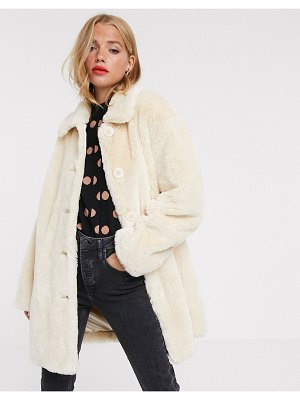 ASOS DESIGN faux fur button through coat in cream