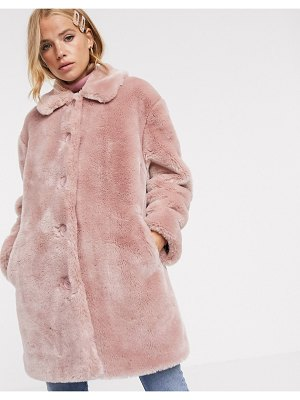 ASOS DESIGN faux fur button through coat in pink