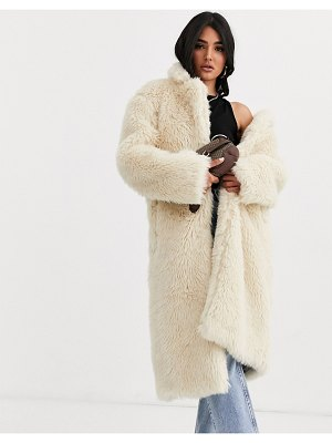 ASOS DESIGN faux fur teddy longline coat in cream