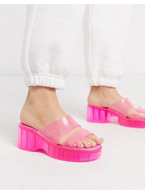 ASOS DESIGN favorite chunky double strap 90s jelly sandals in pink