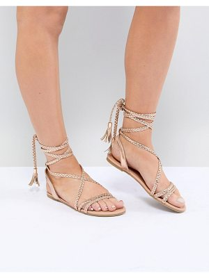 ASOS Design Fayla Tie Leg Plaited Flat Sandals