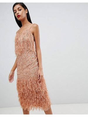 Asos Feather Trim Sequin Midi Dress