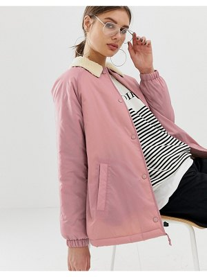 ASOS DESIGN fleece collar tech jacket-pink