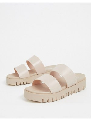 ASOS DESIGN fletch chunky jelly flat sandals in beige
