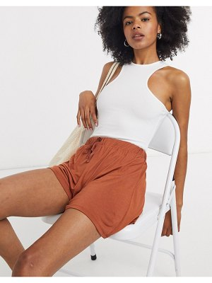 ASOS DESIGN flippy short with drawcord in terracotta-brown