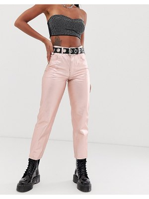 ASOS DESIGN florence authentic straight leg jeans in rose gold metalic pink