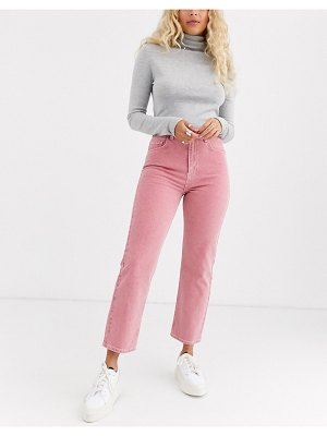 ASOS DESIGN florence authentic straight leg jeans in washed coral-pink