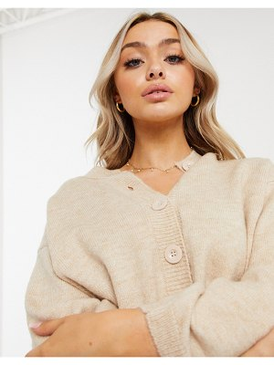 ASOS DESIGN fluffy cardigan with crewneck in oatmeal-beige