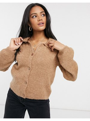 ASOS DESIGN fluffy collared sweater with placket detail in camel-stone