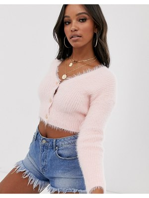 ASOS DESIGN fluffy cropped cardigan