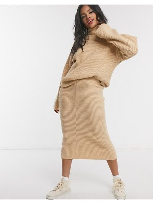 ASOS DESIGN fluffy midi skirt in camel-stone