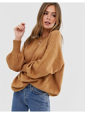 ASOS DESIGN fluffy oversized sweater with volume sleeve in recycled blend
