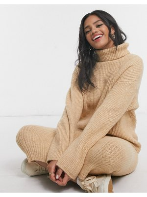 ASOS DESIGN fluffy roll neck longline sweater-stone