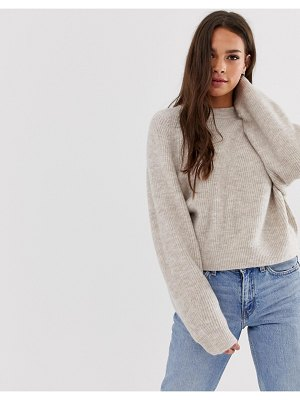 ASOS DESIGN fluffy sweater with balloon sleeve