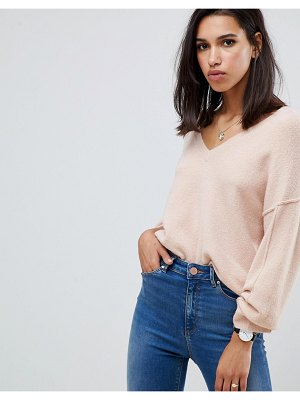 ASOS DESIGN fluffy sweater with v neck-pink
