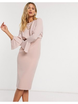 ASOS DESIGN fluted sleeve midi pencil dress in soft pink