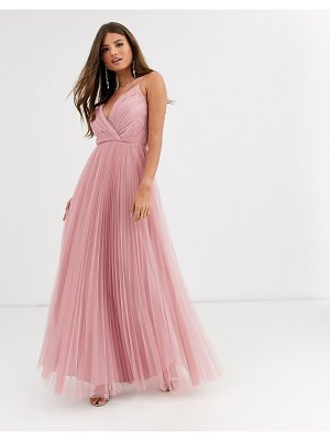 ASOS DESIGN fuller bust cami pleat tulle maxi dress-pink