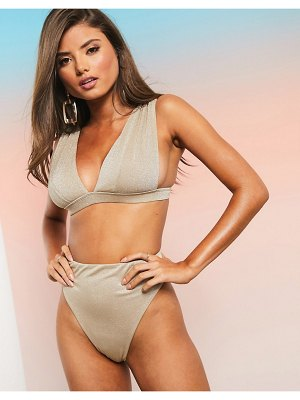 ASOS DESIGN fuller bust mix and match glitter deep band plunge bikini to in gold metallic