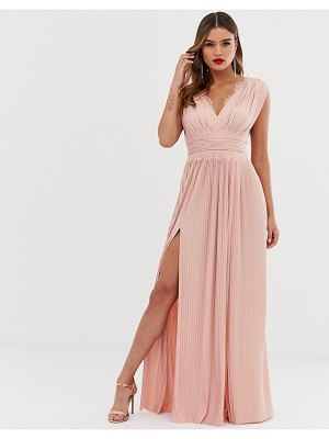 ASOS DESIGN fuller bust premium lace insert pleated maxi dress-pink