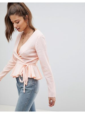 Asos DESIGN fuller bust wrap top with pephem in blush
