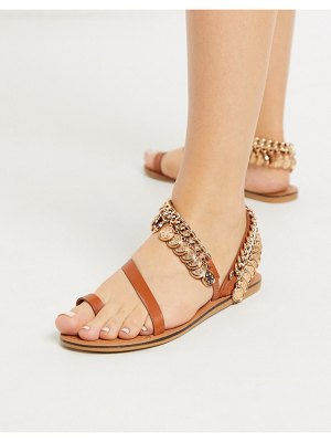 ASOS DESIGN fusion leather coin embellished flat sandal in tan