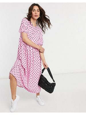 ASOS DESIGN gathered neck midi smock dress in pink and black spot