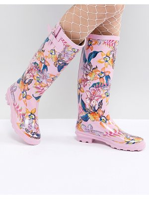 ASOS DESIGN grassy floral wellies