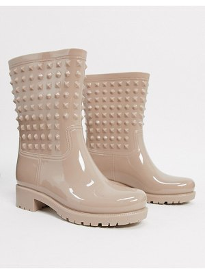 ASOS DESIGN grateful studded knee high rain boots in pink