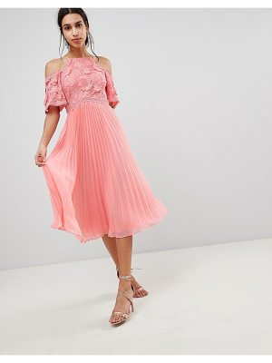 Asos Guipure Lace Top Midi Dress With Pleated Skirt