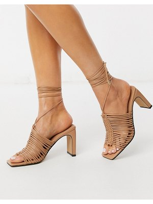 ASOS DESIGN halo plaited mid-heeled sandals in beige