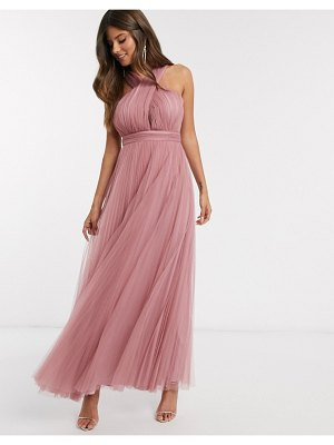 ASOS DESIGN halter cross over front tulle maxi dress in rose-pink