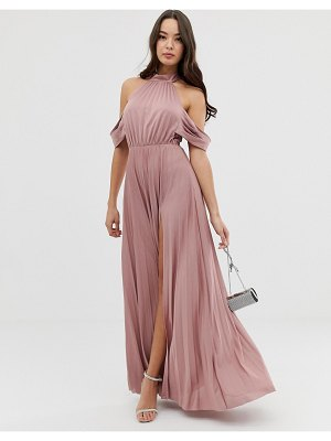 ASOS DESIGN halter pleated bow back maxi dress-pink