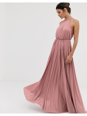ASOS DESIGN halter pleated waisted maxi dress-pink