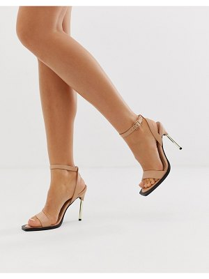 ASOS DESIGN harris barely there heeled sandals-beige