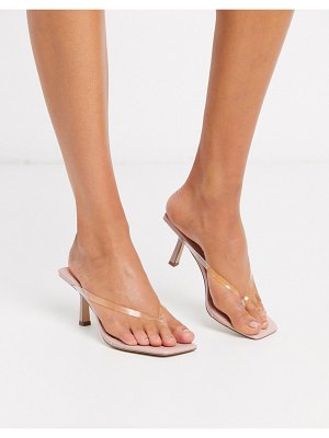 ASOS DESIGN hayes flip flop mid-heels in clear and beige