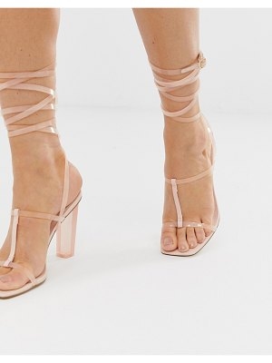 ASOS DESIGN headline barely there block heeled sandals-pink