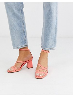 ASOS DESIGN heartening block heeled sandals in hot pink