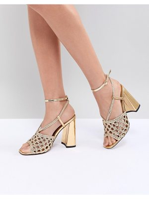 ASOS DESIGN helix woven block heeled sandals