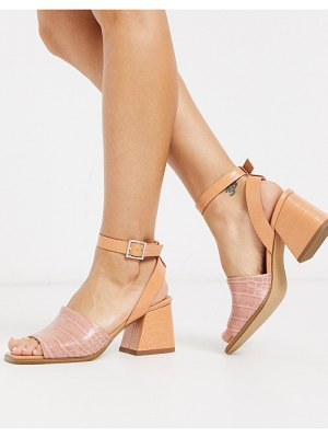 ASOS DESIGN helsa mid-heeled sandals in beige croc