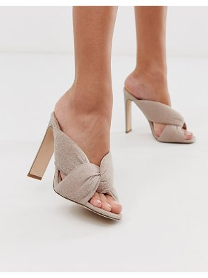 ASOS DESIGN herring padded heeled sandals in beige