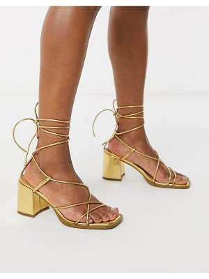 ASOS DESIGN hideout block heeled minimal strap sandals in gold