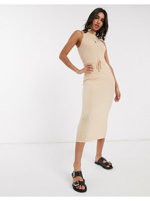 ASOS DESIGN high neck ribbed midi dress with drawstring in oatmeal marl-beige