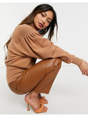 ASOS DESIGN high neck sweater with batwing sleeves in camel-stone