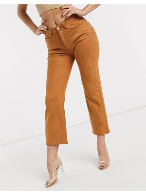 ASOS DESIGN high rise 'effortless' stretch kick flare jeans in faux suede-brown